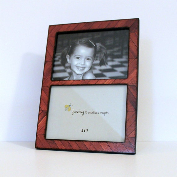 Double 4x6 Or 5x7 Wood Picture Frame Brown Wood Chevron