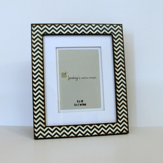 8x10 Or 5x7 Photo Frame Navy White Zig Zag Chevron From