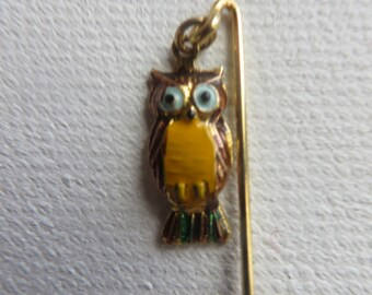 Miniature Vintage Goldtone Painted Owl Stick Pin