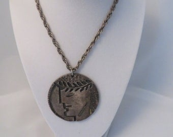 Vintage Rebajes Greek Head Pendant Necklace