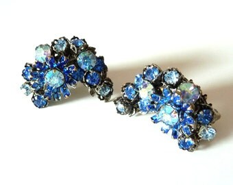 DeMario Blue Rhinestone Earrings Clip On Vintage Earrings Signed Costume Jewelry from TreasuresOfGrace