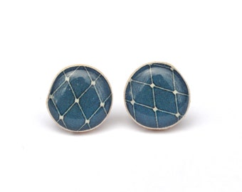 Navy blue geometric wooden studs Blue post earrings minimalist studs eco friendly jewelry starlight woods