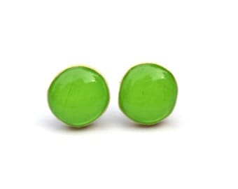 Green Apple stud earrings. Green apple studs. Wood earrings. Starlight woods eco friendly earrings