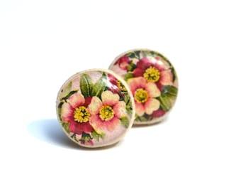 Garden floral stud earrings. flower studs tiny stud earrings flower  post earrings  Wood jewelry.  Starlight woods. Eco friendly