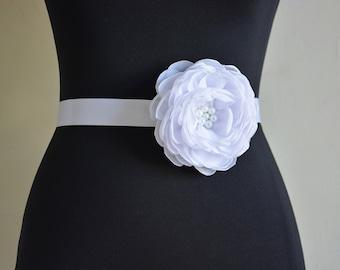 White, Bridal Sash Belt, Beaded Belt, Wedding, Chiffon Flower with Pearls, Gown Dress Sash, Bridal Flower, Tie Back Flower Hairband