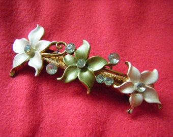 Vintage/retro gold tone metal and two-tone green enamel/rhinestone hair slide/clip or barrette