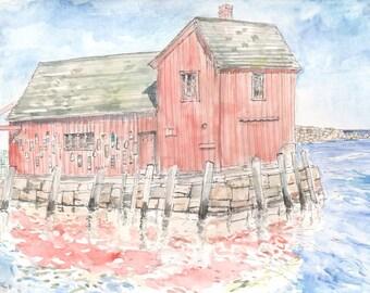 Motif #1, Classic Rockport, New England Fishing village, scenic landscape print, 8.5x11wall decor Home & Living America color, digital print