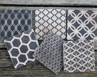 coasters set of 6 different designs honeycomb wedding ring quilt hostess gift housewarming gift wedding favor shower favor rustic favor