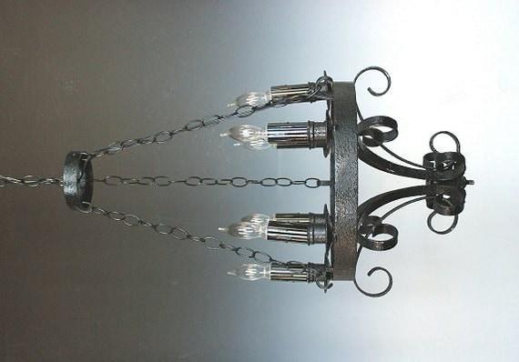 handmade wrought iron light fixture chandelier lighting. Black Bedroom Furniture Sets. Home Design Ideas