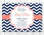 Bridal Shower Invitation - Chic Chevron in Coral & Navy. DIY Printable Bridal Shower Invite or Baby Shower Invite.