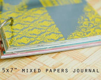"""SALE 5x7"""" Mixed Papers Journal with 40 pages"""
