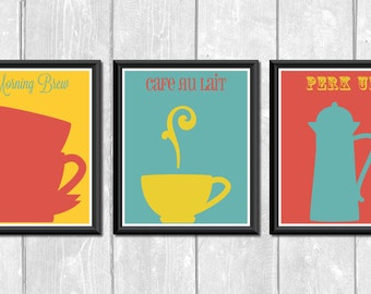 Coffee in the Morning Set of 3 Designer Original 8 x 10 Art Prints - Fuschia Teal Yellow Kitchen Decor