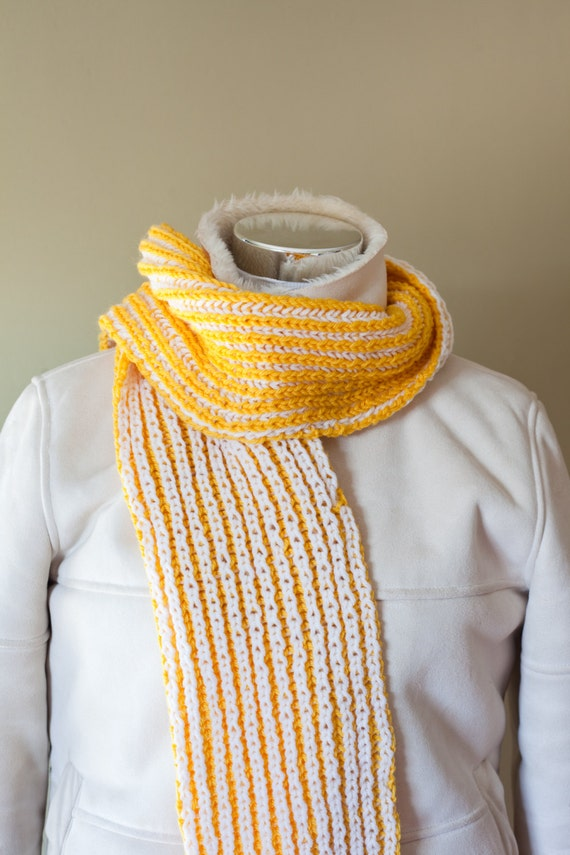 ON SALE 10.00 OFF Was 45.00 Winter Scarf White and Yellow Wool knit