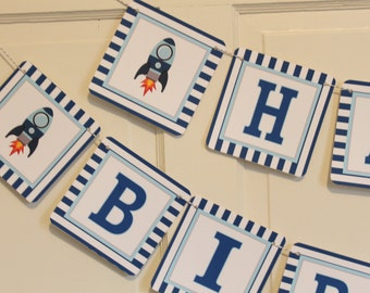 BLAST OFF ROCKET Themed Party Happy Birthday or Baby Shower Banner - Party Packs Available