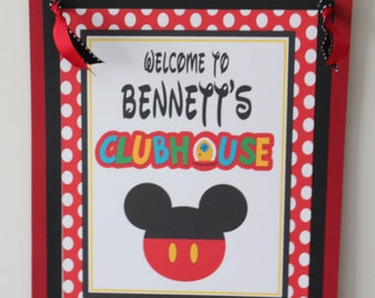 POLKADOT MICKEY Inspired Happy Birthday or Baby Shower Door or Welcome Sign - Packs Packs Available