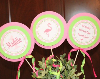 POLKADOT FLAMINGO Happy Birthday or Baby Shower Centerpiece Sticks {Set of 3} Pink Green - Party Packs Available