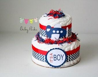 Airplane Diaper cake, airplane baby shower , chevron  baby shower, aviator baby shower, shower decorations