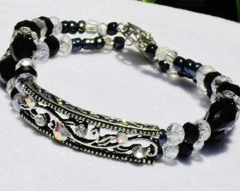 Bracelet, black, Swarovski, crystal, silver, 2strand, filigree, OOAK, handmade, Bridal, Wedding, Special occasion, Holiday, Gift, Item W-341
