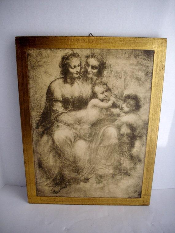 Vintage Renaissance Print Fratelli Alinari Gilded Wood Frame