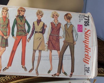 Vintage Sixties  1968 Women's Jumper Top Skirt and pants  Pattern Misses Size 10