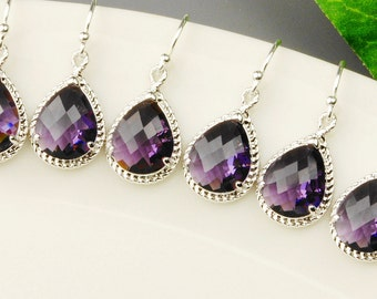Purple Bridesmaid Earrings SET OF 8 - 15% OFF Silver Purple Earrings - Purple Bridesmaid Jewelry Set - Amethyst Glass Drop Earrings