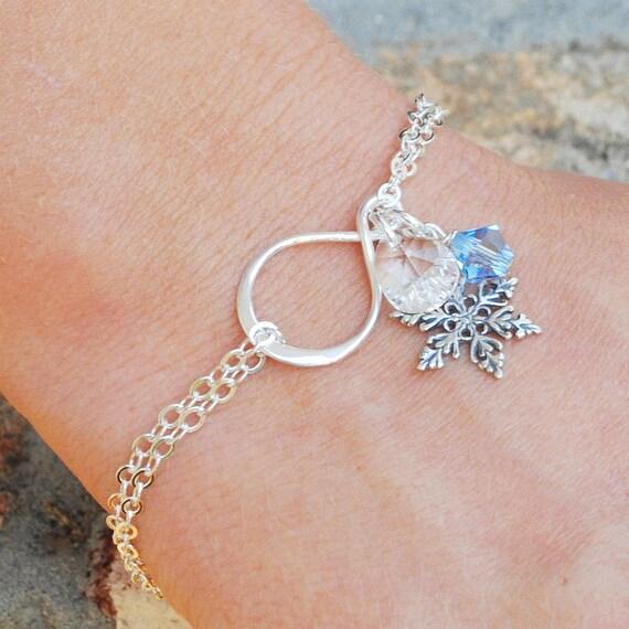 Snowflake Bracelet Sterling Silver Swarovski Crystal