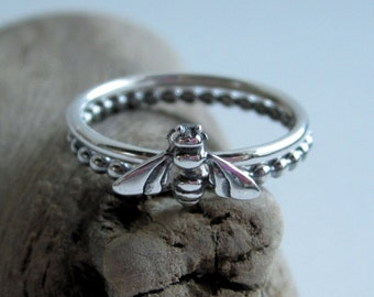 Sterling Silver Bee Ring - Stacking Rings