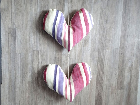 Heart garland pink and purple fabric  - home decoration