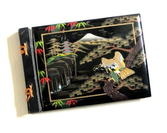 Black Lacquered Scrapbook  Photo Album Asian Scene Mt. Fuji Vintage Mother of Pearl Hand Painted  Mid Century Collectible