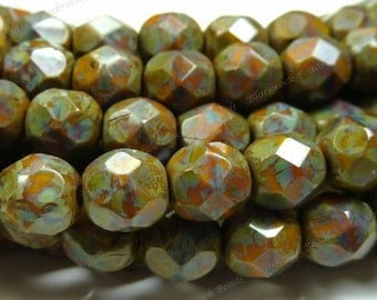 6mm Brown Goldenrod Picasso Czech Glass Beads - 25pc Strand - Round, Faceted, Fire Polished - BD14