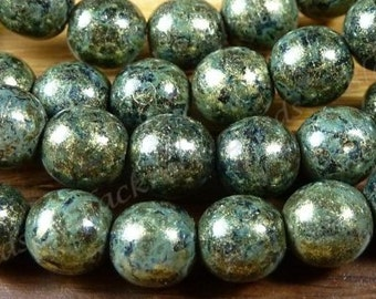 6mm Opaque Bronzed Antique Green Picasso Czech Glass Beads - 25pc Strand - Round, Smooth Druks - BD33
