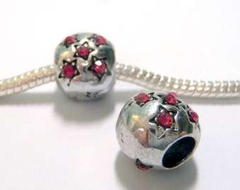 3 Beads - Pink Rhinestone Star Silver European Charm Bead E1234