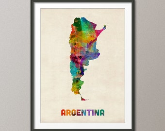 Argentina Watercolor Map, Art Print (995)
