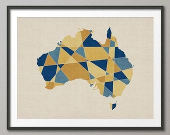Australia Map, Geometric Retro Art Print (1057)