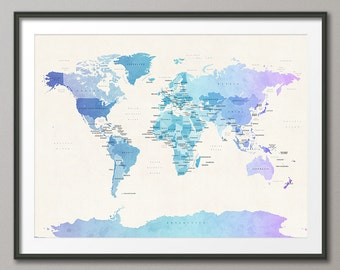 Political Map of the World Map, Art Print, 18x24 up to 24x36 (1087)