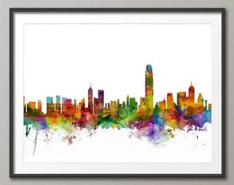 Hong Kong Skyline, Hong Kong China Cityscape Art Print (1283)