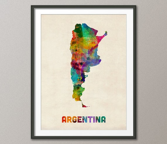 Argentina Watercolor Map Art Print - Argentina map to print