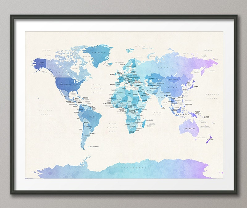 Political Map of the World Map Art Print 18x24 up to 24x36