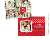 INSTANT DOWNLOAD -  Valentine Photocard Template - Sweet Kisses- E285
