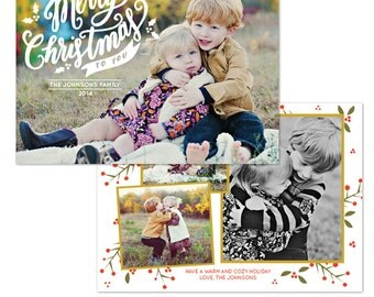 INSTANT DOWNLOAD - Christmas Card Photoshop template - E1081