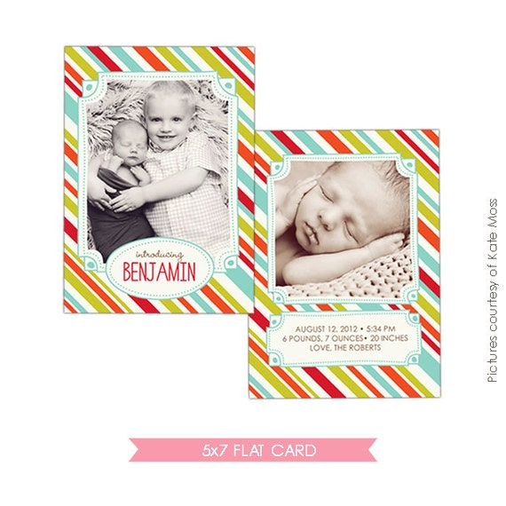 INSTANT DOWNLOAD  - Birth announcement template - Photoshop template - E313