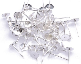 20 Earring Posts Silver Plated 4 mm glue pad  ew068
