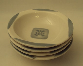 4 Syracuse China Cadet Grey Airbrushed Restaurant Ware Stenciled Fruit Dish Berry Bowls