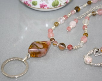 Striped Rose Quartz Break-A-Way Lanyard/Necklace