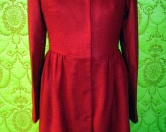 CUSTOM MADE RED Valentino inspired bow back coat in velvety red wine wool