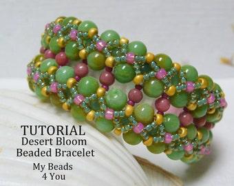 DIY Beading Instructions, PDF Beading Tutorial, Beaded Bracelet Tutorial, Embellished Bracelet Pattern,How to Bead, Seed Bead Tutorial
