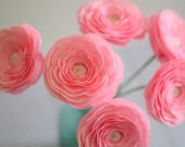 6 paper ranunculus,buttercup for Mothers day, wedding bouquet ,table decor