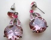 Vintage Pink CZ  Pierced Dangle Earrings
