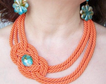 FREE SHIPPING. Pumpkin rope knot  necklace and  earrings. Set.