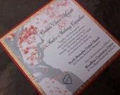 Glitter Manzanita Tree Wedding Invitation in any Colour Combination!